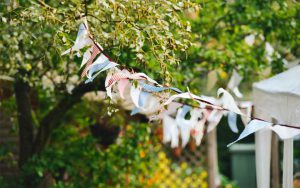bunting flying with trees behind